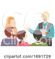 Senior Man Talk To Young Teachers Illustration