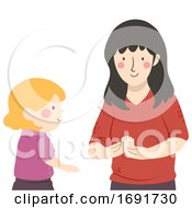 Kid Mute Talking Teacher How Are You Illustration