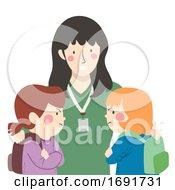 Kid Girl Student Conflict Teacher Illustration
