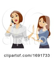 Teen Girl Mom Busy Illustration