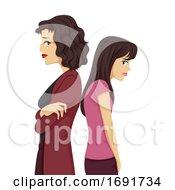 Poster, Art Print Of Teen Girl Mom Conflict Illustration