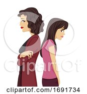 Teen Girl Mom Conflict Illustration