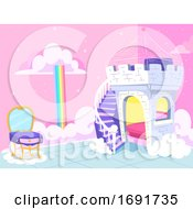 Kids Bedroom Fantasy Princess Theme Illustration