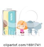 Kid Girl Adjective Next Illustration