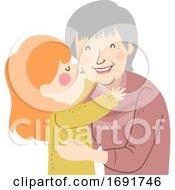Poster, Art Print Of Kid Girl Kiss Grandma Cheek Illustration