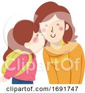 Kid Girl Kiss Mom Cheek Illustration
