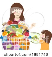 Kid Girl Mom Grocery Snacks Illustration