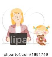 Kid Girl Mom Parent Tantrum Play Illustration