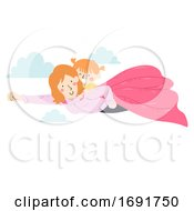 Kid Girl Mom Superhero Fly Illustration