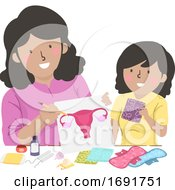 Kid Girl Mom Teach Teen Period Illustration