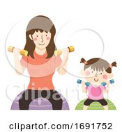 Poster, Art Print Of Kid Girl Mom Dumbbells Exercise Ball Illustration