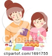 Mom Kid Teen Preparing Period Kit Illustration