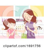 Mom Teach Teen Kid Make Up Shopping Illustration