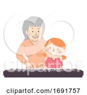 Poster, Art Print Of Senior Grandma Kid Girl Piano Lesson Illustration