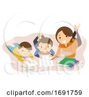 Stickman Kids Mom Home School Read Illustration