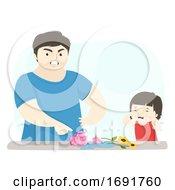 Kid Girl Dad Man Angry Break Vase Illustration