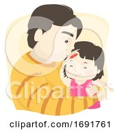 Poster, Art Print Of Kid Girl Dad Man Apply Bandage Kiss Illustration