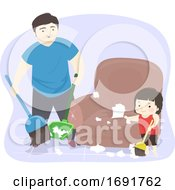 Kid Girl Dad Man Cleaning Mess Illustration