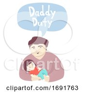 Kid Girl Man Dad Daddy Duty Illustration