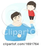 Kid Girl Dad Man Hand Balance Illustration