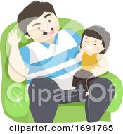 Kid Girl Man Dad Laughing Together Illustration