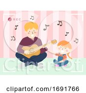 Kid Girl Dad Man Record Video Singing Illustration