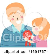 Kid Girl Man Dad Rosette Ribbon Award Illustration