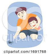 Kid Girl Dad Man Spider Illustration
