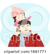 Kid Girl Man Father Snow Illustration