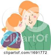 Poster, Art Print Of Kid Girl Kiss Man Dad Cheek Illustration