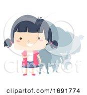 Kid Girl Adjective First Illustration