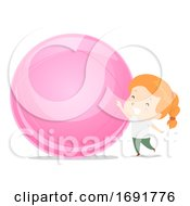 Kid Girl Adjective Big Illustration