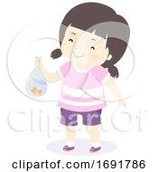 Kid Girl Buy Gold Fish Illustration