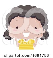 Kid Girl Curly Hair Adjective Illustration