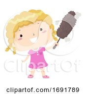 Kid Girl Dusty Adjective Illustration