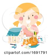 Kid Girl Make House Pet Cat Illustration