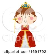 Kid Girl Medieval Queen Illustration