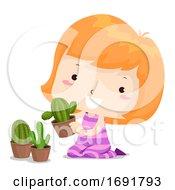 Kid Girl Prickly Cactus Adjective Illustration