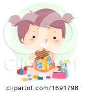 Kid Girl Verb Make Craft Illustration