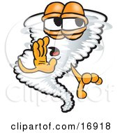 Clipart Picture Of A Tornado Mascot Cartoon Character Whispering