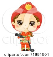 Kid Girl Fireman Illustration