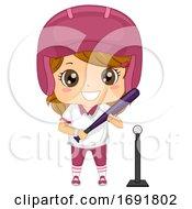 Kid Girl Tee Ball Player Illustration