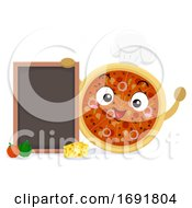 Mascot Pizza Chef Board Illustration