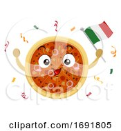 Mascot Pizza Italy Flag Pizza Fest Illustration