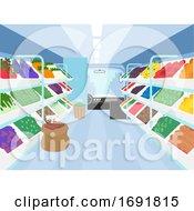 Poster, Art Print Of Mobile Market Interior Vegetables Illustration