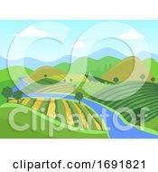 Farm Mountain Field Illustration