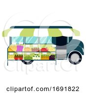 Truck Mobile Market Illustration