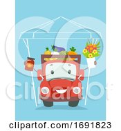 Truck Mascot Sell Fresh Farm Products Illustration