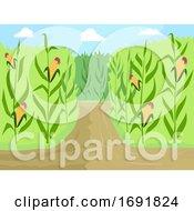 Poster, Art Print Of Corn Maze Entrance Path Illustration