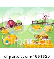 Farm Birthday Party Settings Illustration